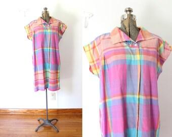 1980s Madras Plaid Dress / Pink and Purple Madras Plaid Summer Dress
