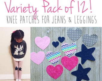 12-PACK! Knee Patches for Girls, Knee Patch Leggings, Iron on Knee Patches girls leggings, Iron on Heart, Iron-on Patch, iron on patch set