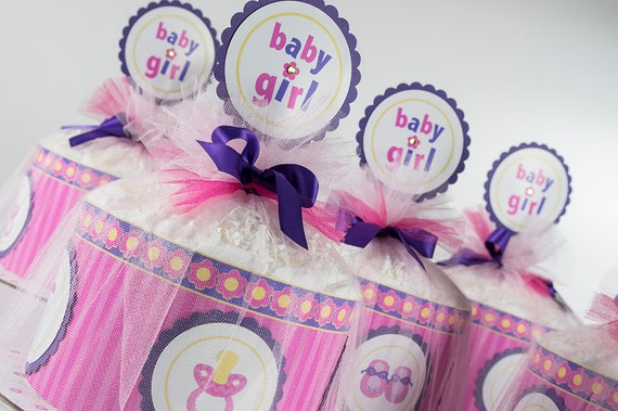 Diaper Cake Set - Baby Girl Diaper Cake Set - Four Mini Diaper Cakes -  Baby Shower Centerpiece