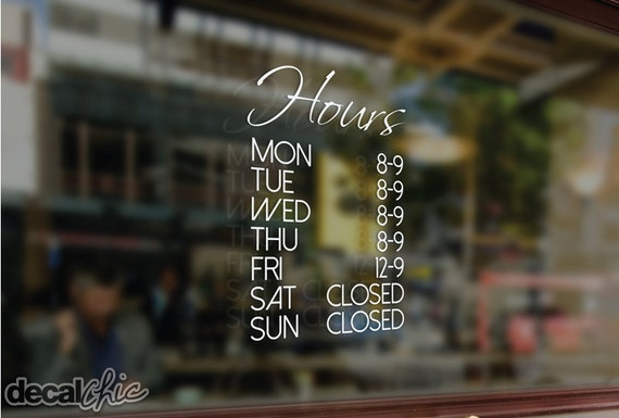 Free shipping customized business hours window decal for