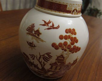 Bristol Pottery Ginger Jar with lid, Vintage, Willow Pattern, Brown, Cream