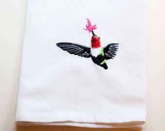 Hummingbird Tea Towel   Embroidered Kitchen Towel   Embroidered Towel   Personalized Kitchen Towel   Broad Tailed Hummingbird   Bird Towel