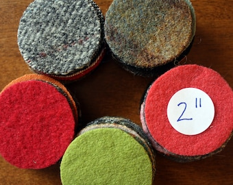 Wool Circles -- 50 - 2 inch Wool Circles -- Precut Recycled Felted Wool Circles -- Wool Pennies