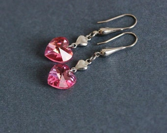 Mother's Day Gift Pink Heart Earrings Crystal Earrings Dangle Heart Earrings Tiny Heart Earrings Heart Jewelry Love Earrings Crystal Heart
