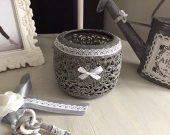 shabby chic grey and white candle