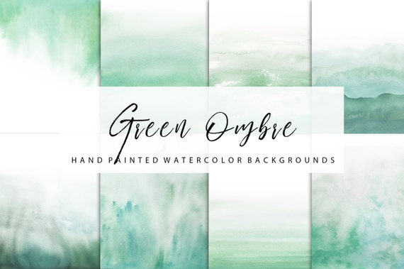 Ombre Watercolor Green Backgrounds For Personal And