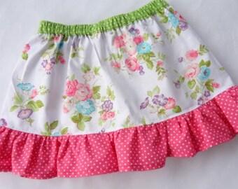 Floral Skirt, Flower Skirt, Girls flower skirt, Girls floral skirt, toddlers skirt, baby skirt, girls ruffled floral skirt, girls skirt