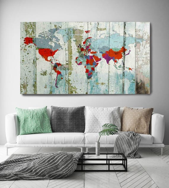 World Map on wooden planks. Vintage World Map. Large Canvas Wall Art for Home. Home Decor. Map on wood. Wall Decor by Irena Orlov.
