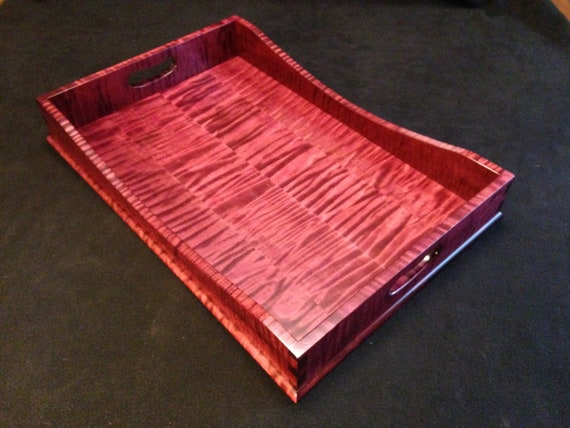 "12"" x 18"" Plum Tiger Maple Serving Tray"