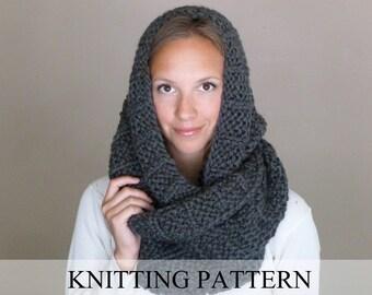 KNITTING PATTERN The Celebrity Scarf, Knit Infinity Scarf Pattern, Knit Cowl Pattern, Chunky Cowl Pattern, Bulky Infinity Scarf Knit Pattern