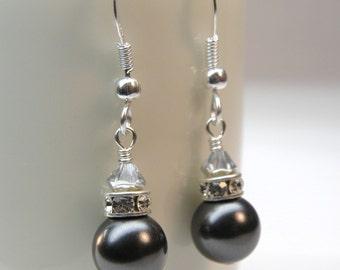 Black Pearl Earrings, Rhinestone, Sterling Silver, Swarovski Pearl, Bridal Party, Bridesmaid, Custom Wedding Handmade Jewelry