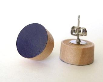 Navy stud earrings, wood post earrings, dark blue posts, blue studs, spring earrings, midnight blue