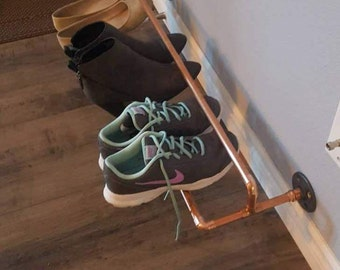 Copper Pipe Shoe Rack  - Wall mounted makes it easy to organize shoes and keep them up and off the floor.