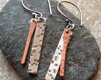 Hand forged mixed metal earrings / silver and copper dangles / rustic earrings / handcrafted mixed metal jewelry