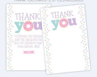 Donut Thank You Cards, Sprinkles Birthday Party, Printable Thank You Notes, Donut Birthday party, INSTANT DOWNLOAD