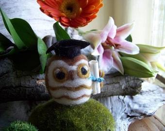 Needle Felted Graduation Owl