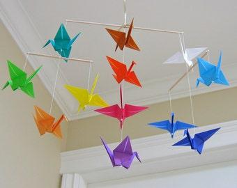 Origami Crane Mobile - Rainbow - Modern Baby Room Decor