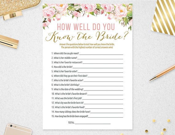 How Well Do You Know The Bride Game // Instant Download