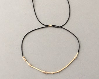 Morse Code Gold Fill Silk String Bracelet also available in Sterling Silver