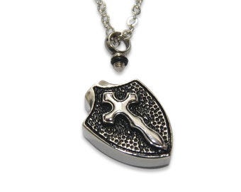 Cross on Shield Cremation Necklace - Ashes Pendant - Keepsake Memorial - Pet Remains - Key Chain Option - Engraving Available - 2105
