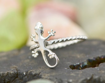 Gecko Ring - Stacker Ring - Lizard Ring - Gecko Jewelry - Silver Lizard - Lizard Jewelry - Silver Gecko, Gift For Her