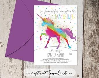 Unicorn Baby Shower Invitation - Printable Template - Girls Gold Glitter & Rainbow Unicorn Theme - Personalize Instant Download Digital File