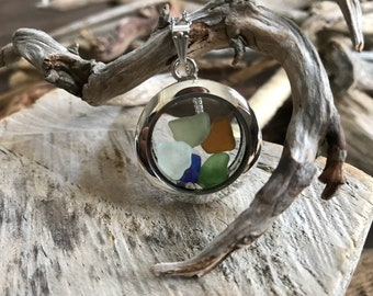 Porthole to Nova Scotia Necklace, sea glass locket necklace, memory locket, floating locket, beach necklace, sea glass jewelry