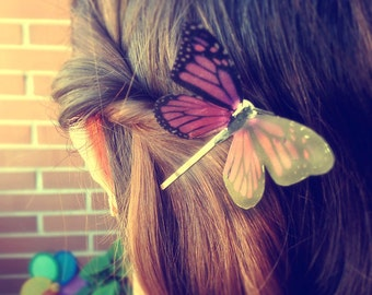 Butterfly hair clip, woodland hair, Pink Monarch Butterfly, butterfly hair accesory, Butterfly hair piece, Bridal Bridesmaid hair accessory