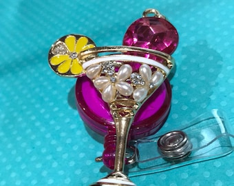 Rhinestone pearl martini glass badge reel