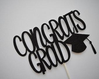 Graduation Cake Topper, Graduation Centerpiece, Congrats Grad Cake Topper, Grad Cake Topper, Glitter Cake Topper