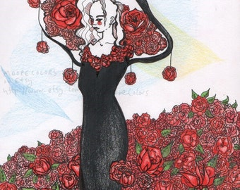 """Fantasy Floral Art Print, """"Surrounded In Roses,"""" Home Decor, Flowers, Gift, dreamy, black dress"""