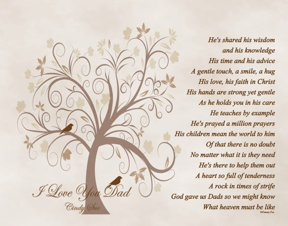 Daughter Son In Law Personalized Poem Christmas Gift: Father's Day Gift For Dad Personalized Poetry Print From