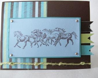 Handmade card, Horses card, Masculine card, Blank cards
