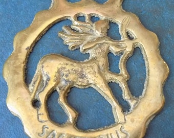 Rare vintage HORSE BRASS Astrological SAGITTARIUS the Archer Style Design Made in England
