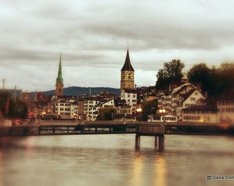 Switzerland, Zurich Print, Zurich Photography, Switzerland Decor, Zurich Wall Art, Modern Photography, Swiss Print, Swiss Gifts, Night Photo