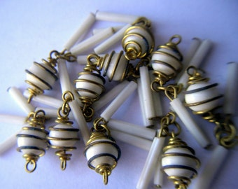 Vintage White Glass Caged Bead Dangles x 10