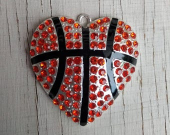 Basketball heart rhinestone pendant for chunky necklaces  bubblegum necklace girl's jewelry wholesale supplies gumball necklace orange black