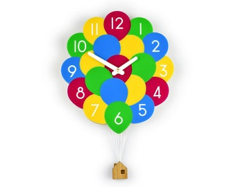 Balloons & House Wall Clock - UP! - Balloon Wall Clock - Children's Room Decor - Nursery Decor - Baby Shower Gift - Simple Wall Clock