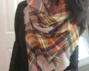 Pumpkin Spice Scarf,Most popular selling,Plaid Blanket Scarf,Cotton Blanket scarf, Plaid Scarf, Blanket plaid scarf, Trendy
