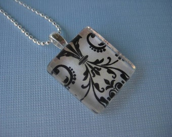 Black and White Damask Glass Tile Pendant with Silver Ball Chain Necklace