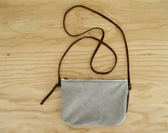 Light Gray Leather Mini Cross Body Bag - mini zipper leather bag with adjustable brown leather strap