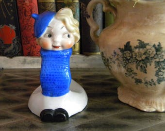 Vintage Flapper Girl Napkin Ring Blond in Blue Sweater and Beret Japan