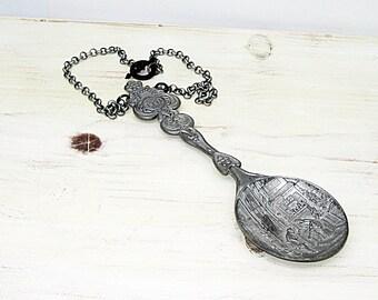 Spoon Necklace, Silver Spoon, Silverware Necklace, Spoon Jewelry, Pendant Necklace, Silverware Jewelry, Handmade Necklace
