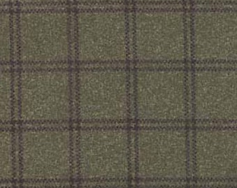 Maywood Woolies Dark Brown with Rust and Tan Large Windowpane Plaid FLANNEL Fabric MASF-18127-G2  BTY