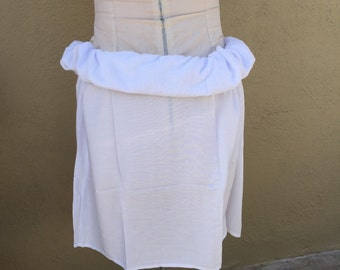 Adult size,  pareo, tahitian pareo, elastic waist,  white rayon, tahitian costume, Skirt
