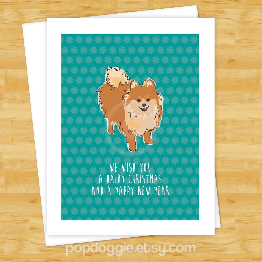 Dog christmas cards pomeranian we wish you a hairy christmas zoom kristyandbryce Image collections
