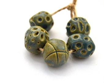 5 Handmade Ceramic Beads, Round / Ball / Sphere Beads, Blue Beads, Nautical Beads, White Clay Beads, Jewelry Supplies, Full Of Space
