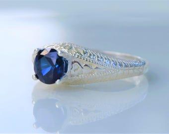 Sapphire Ring, Silver Filigree Ring, Blue Sapphire, Genuine Sapphire Ring, Filigree Ring, Sterling Silver Ring, Solitaire Ring, Unique Ring