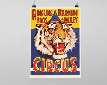 Circus Tiger - Vintage Reproduction Wall Art Decro Decor Poster Print Any size