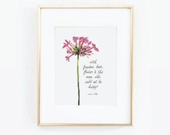Oscar Wilde Quote, Printable Art, Flower Print, Book Quote, Oscar Wilde Print, Flower Illustration, Nursery Gift, Home Decor, Flower Art